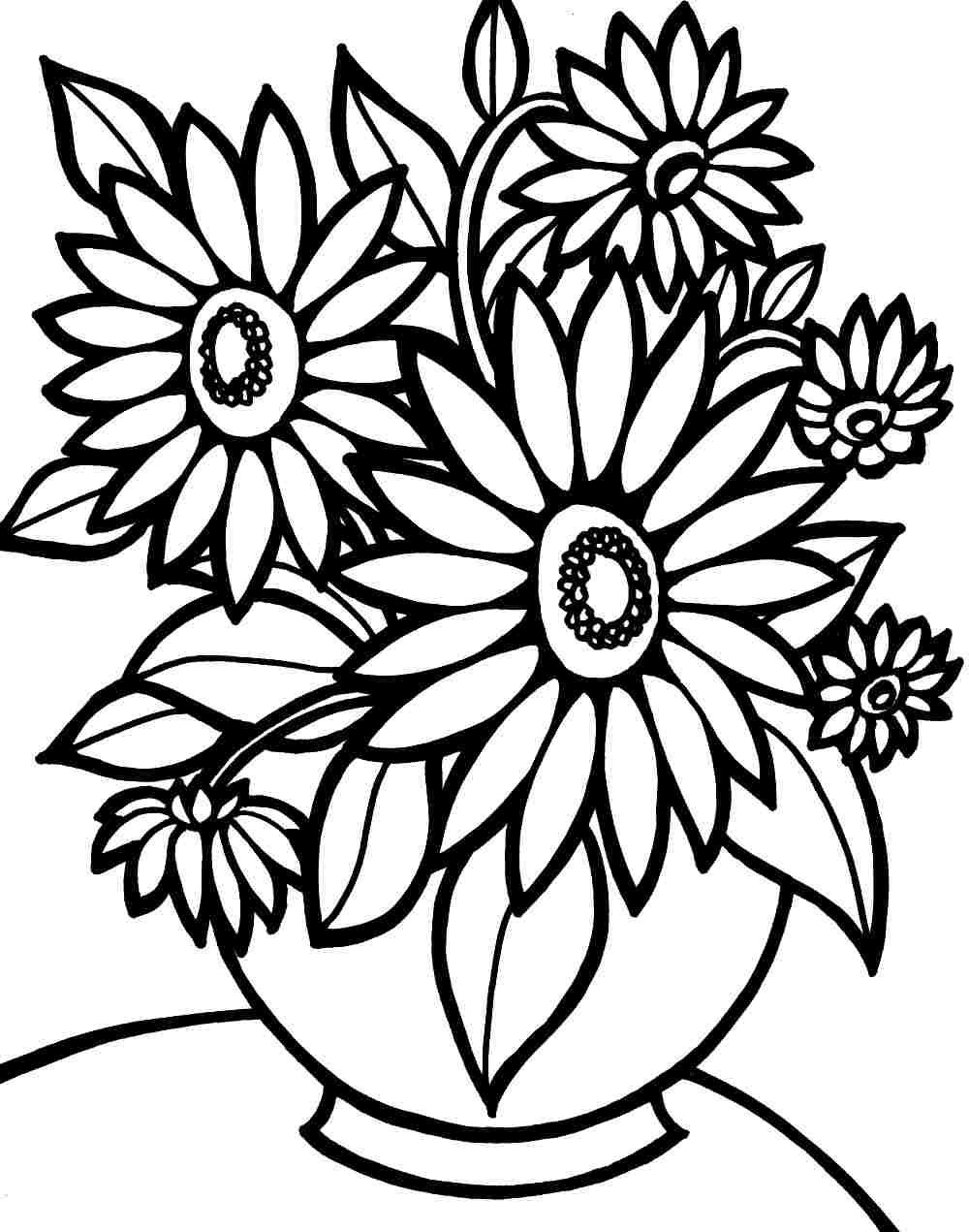 Coloring Pages For Kids Flowers  Colouring Pages Bouquet Flowers Printable Free For Kids