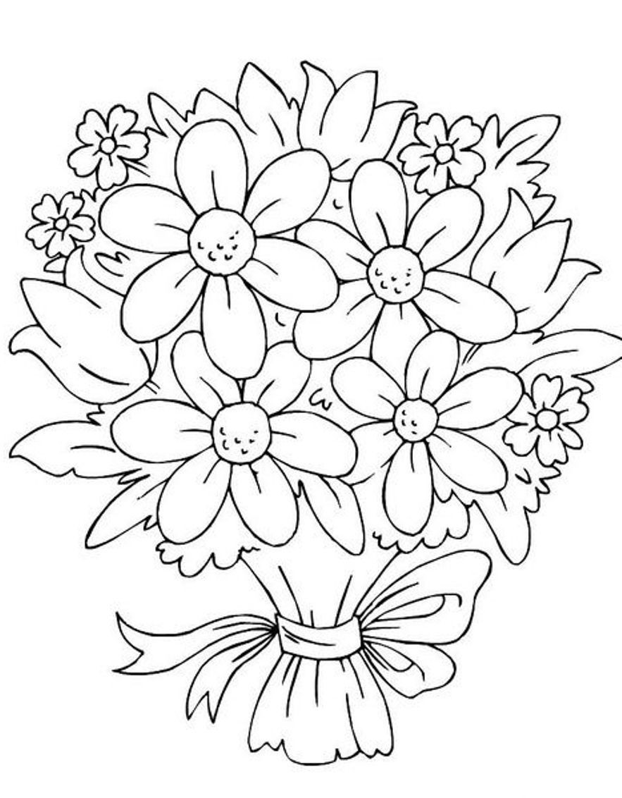 Coloring Pages For Kids Flowers  Bouquet Flowers Coloring Pages