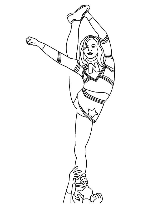 Coloring Pages Girls Cheer  Cheerleader Difficult Stunt Coloring Pages Best Place to