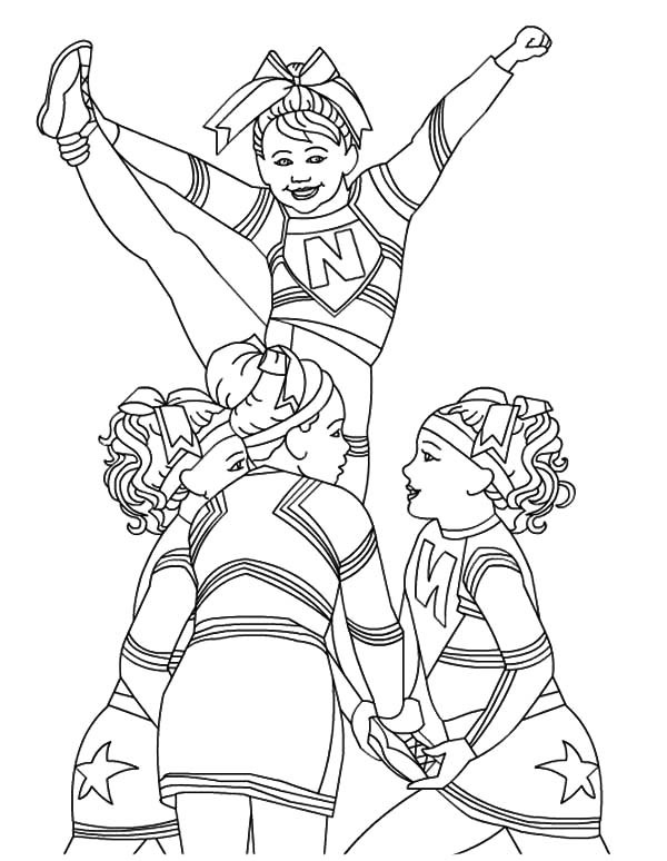 Coloring Pages Girls Cheer  Cheerleader Perform Great Stunt Coloring Pages