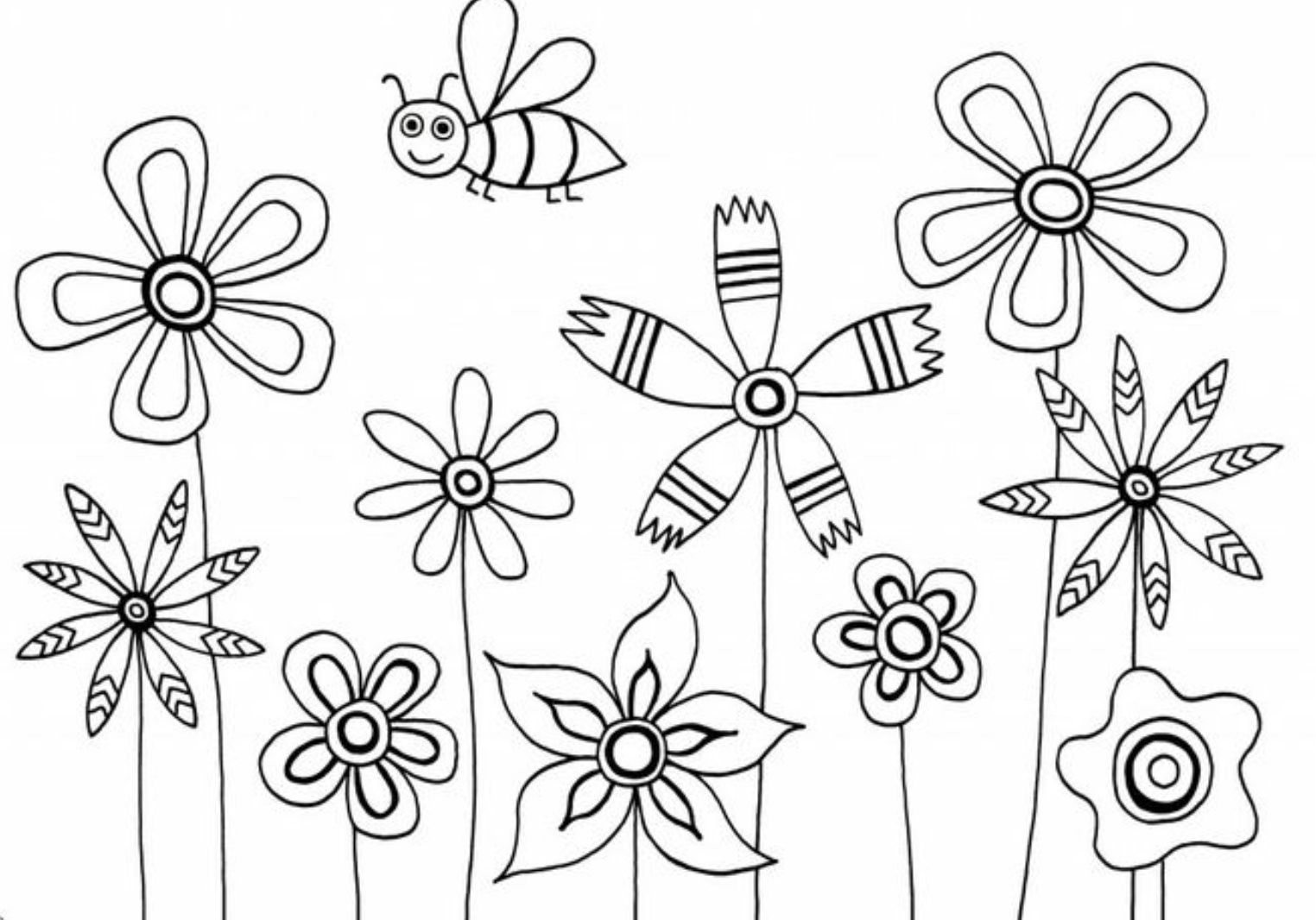 Coloring Pages Of Flowers For Kids  Flowers Coloring Pages For Kids