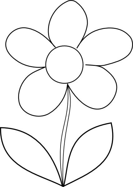 Coloring Pages Of Flowers For Kids  Simple Flower Coloring Page for Kids Free Printable Picture