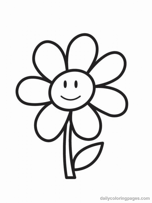 Coloring Pages Of Flowers For Kids  Coloring Pages Worksheets Simple Flower Coloring Pages