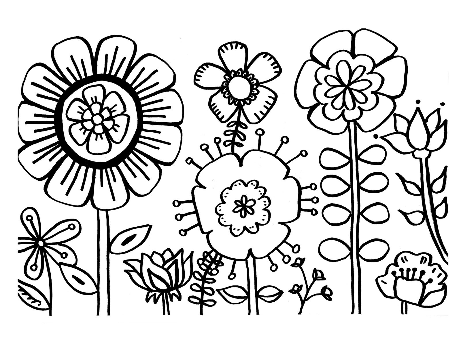 Coloring Pages Of Flowers For Kids  Free Printable Flower Coloring Pages For Kids Best
