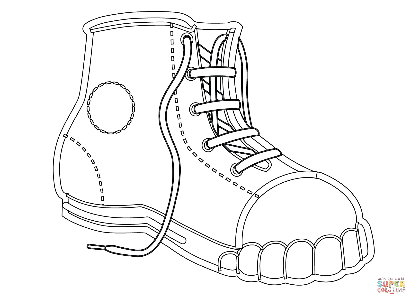 Coloring Pages Of Shoes  Canvas Shoe coloring page