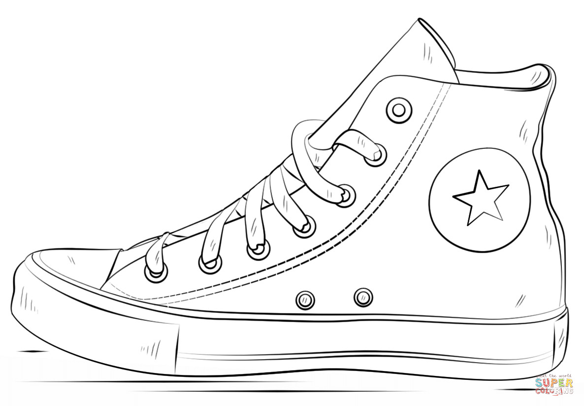 Coloring Pages Of Shoes  Converse Shoes coloring page