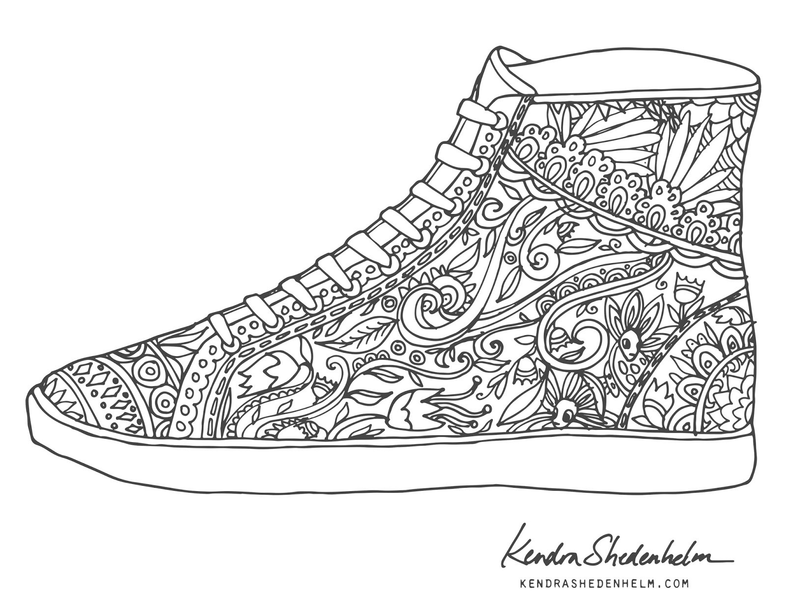 Coloring Pages Of Shoes  Sketchbook by Kendra Shedenhelm Free coloring pages