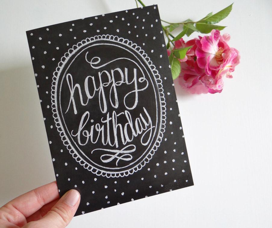 Cool Birthday Card  Happy Birthday Card Chalkboard Art Unique Birthday by