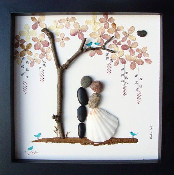 Cool Wedding Gift Ideas  Unique WEDDING Gift Personalized Wedding Gift Pebble Art