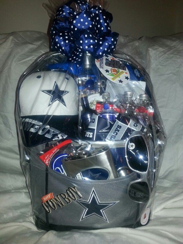 Cowboys Gift Ideas  Dallas Cowboy basket Cooler is filled with beer