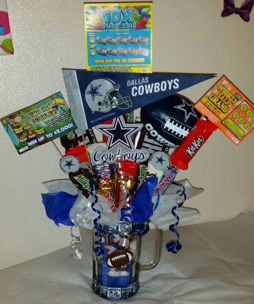 Cowboys Gift Ideas  Dallas Cowboys beer mug candy bouquet w lottery tickets