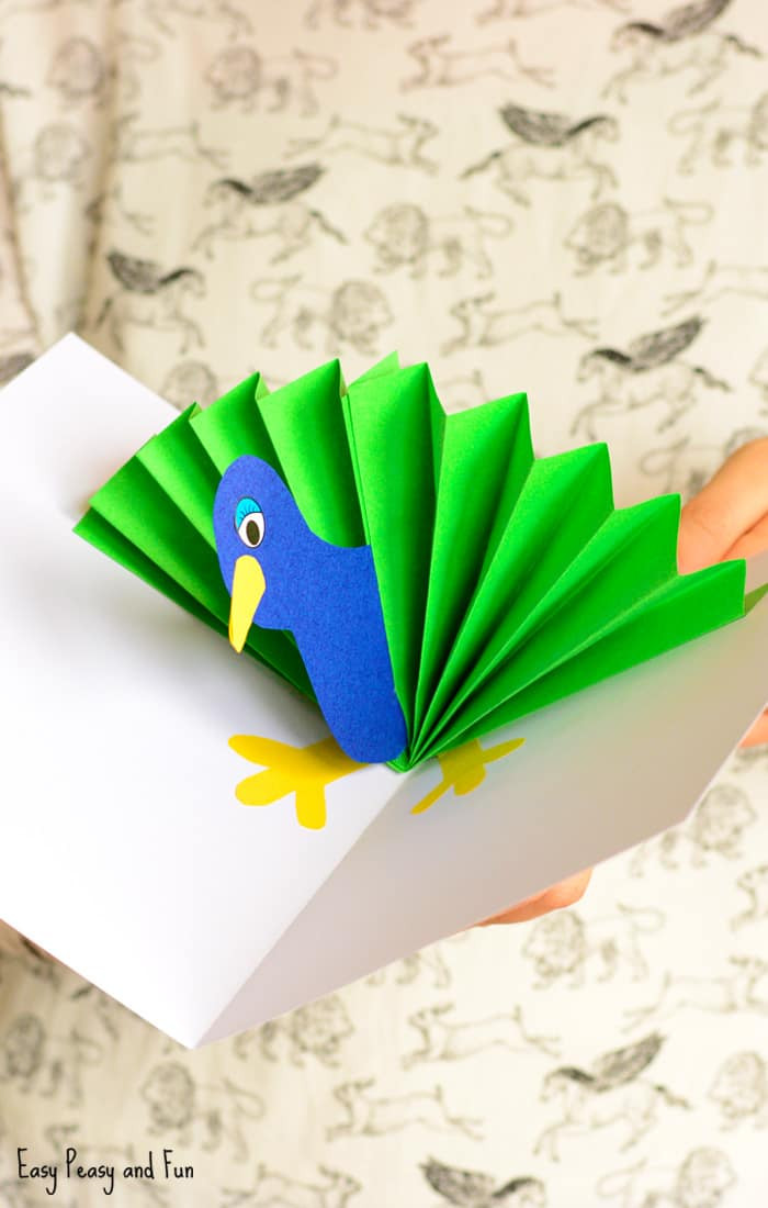 Crafts For Kids  Peacock Pop Up Card Paper Craft Easy Peasy and Fun