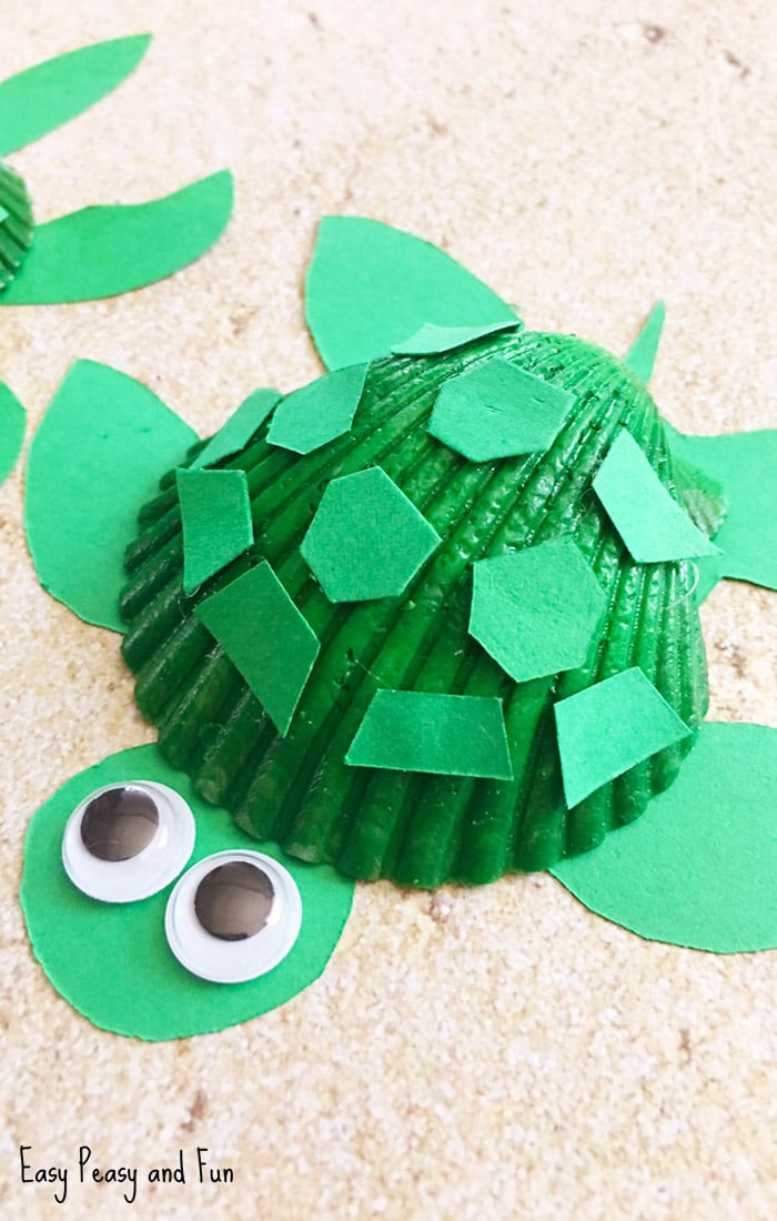 Crafts For Kids  Seashell Turtle Craft Seashell Craft Ideas Easy Peasy