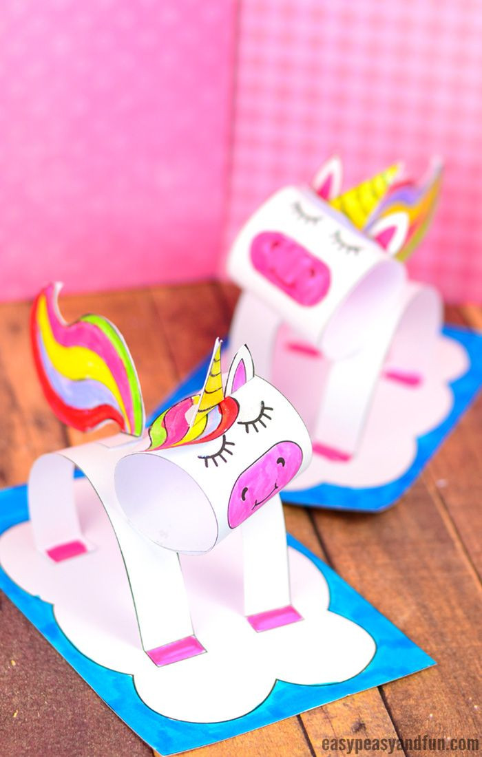 Crafts For Kids  3D Construction Paper Unicorn Craft Printable Template