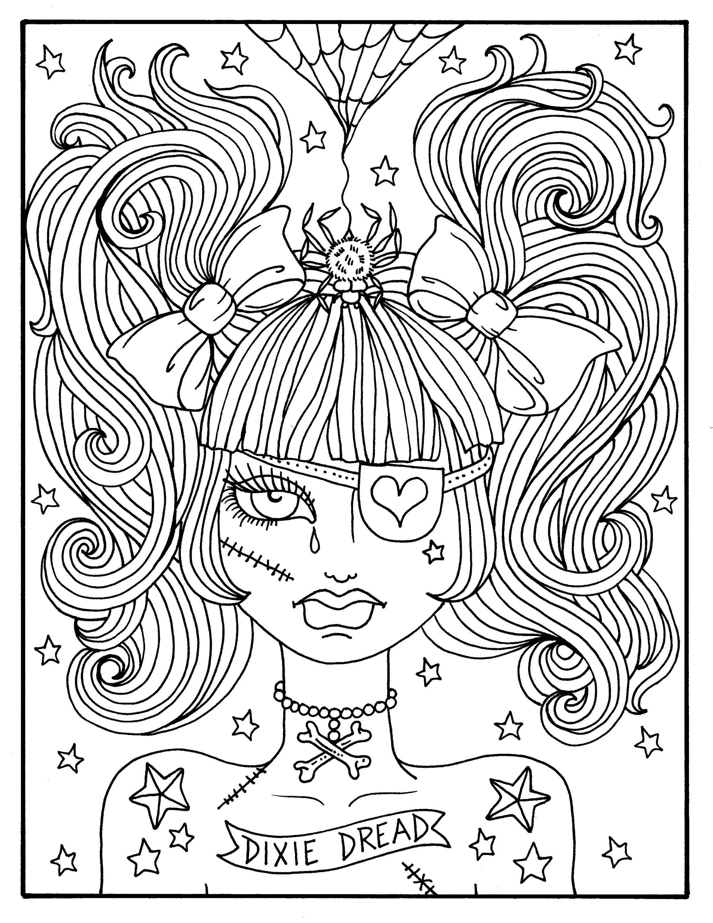 Creepy Coloring Pages  Misfit Girls 5 pages Halloween Misfits Creepy Cute Coloring