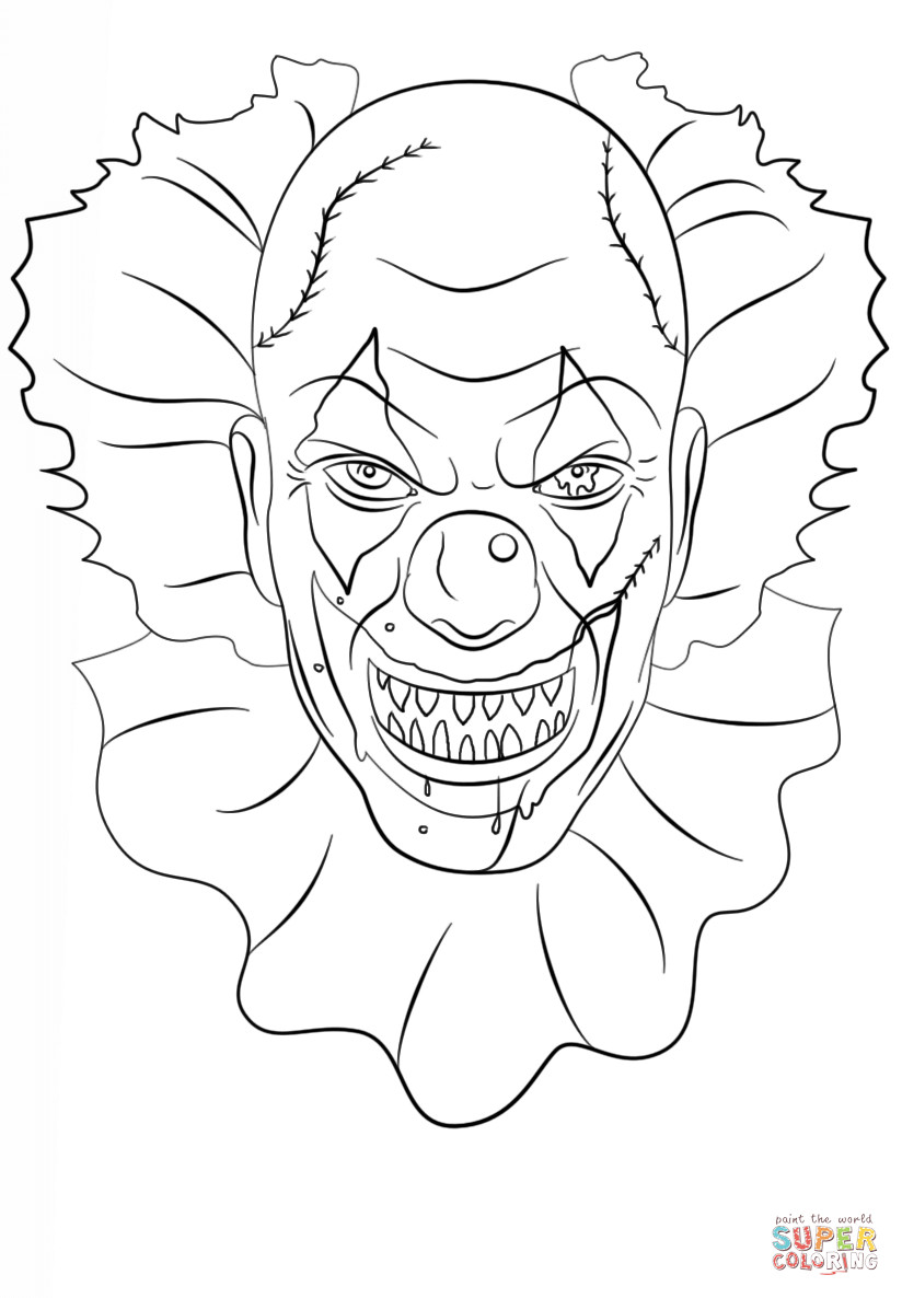 Creepy Coloring Pages  Scary Clown Coloring Pages Coloring Home
