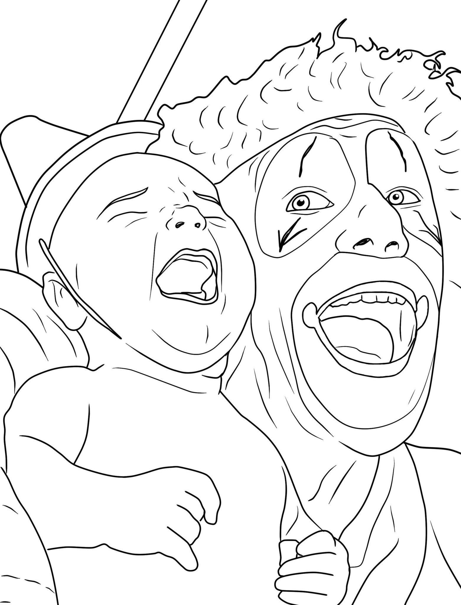 Creepy Coloring Pages  Creepy Clown Coloring Pages Coloring Home