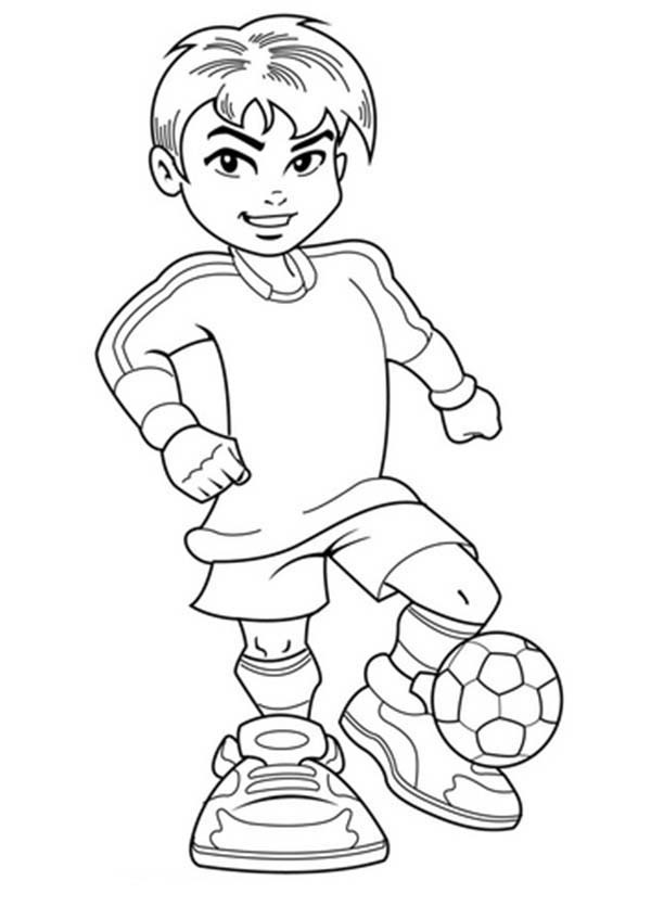 Cute Coloring Pages For Boys  A Cute Boy on plete Soccer Jersey Coloring Page