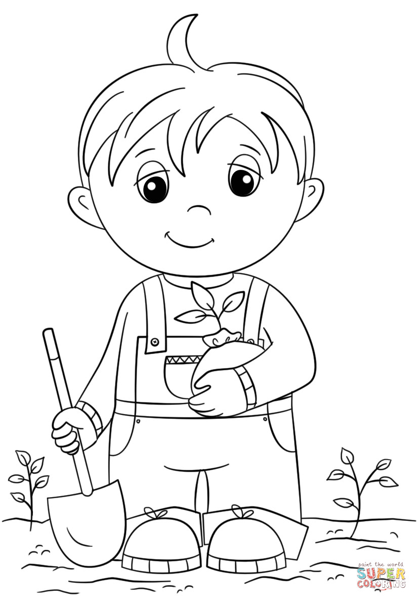 Cute Coloring Pages For Boys  Cute Little Boy Holding Seedling coloring page