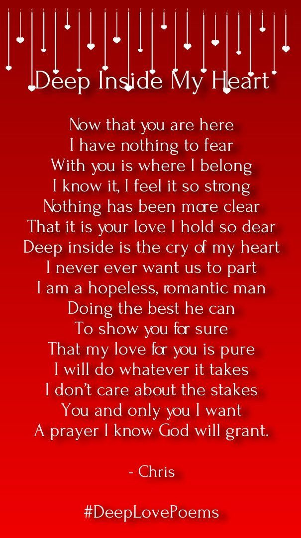 Deep Romantic Quotes  deep love poems for him from the heart Love Songs