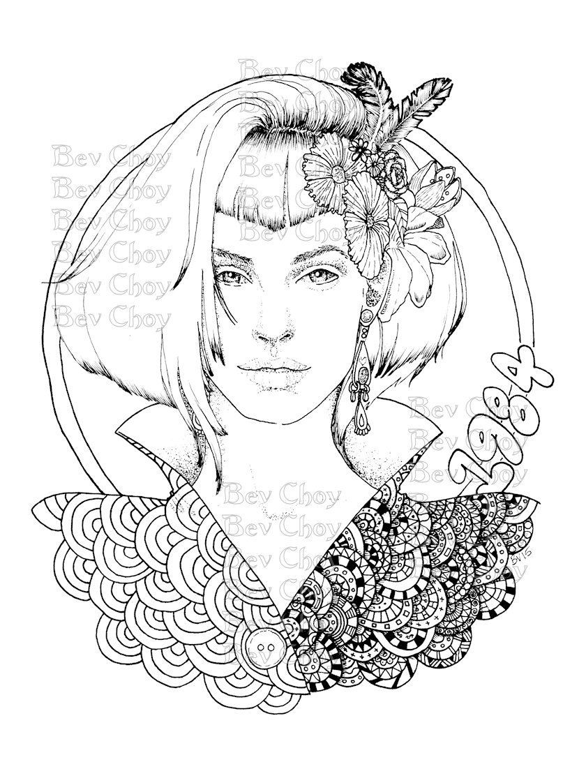 Detailed Coloring Pages Of Girls  Adult Coloring Page Retro by BevChoyArt on Etsy