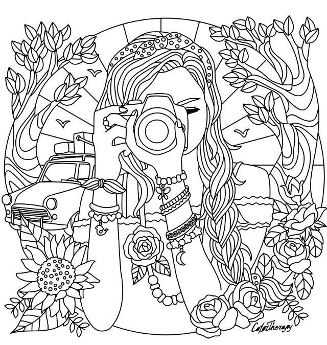 Detailed Coloring Pages Of Girls  Girl with a camera coloring page