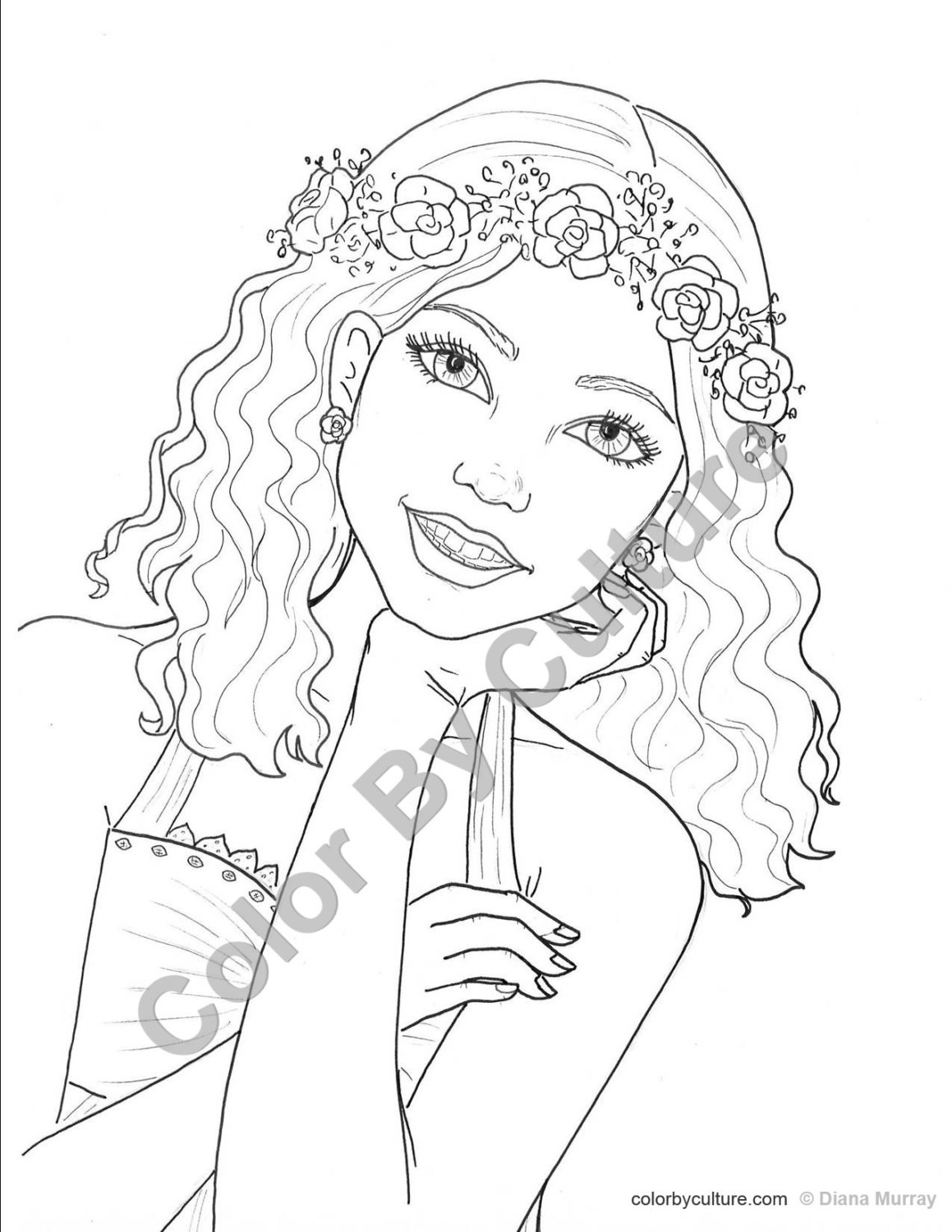 Detailed Coloring Pages Of Girls  Fashion Coloring Page Girl with Flower Wreath Coloring Page