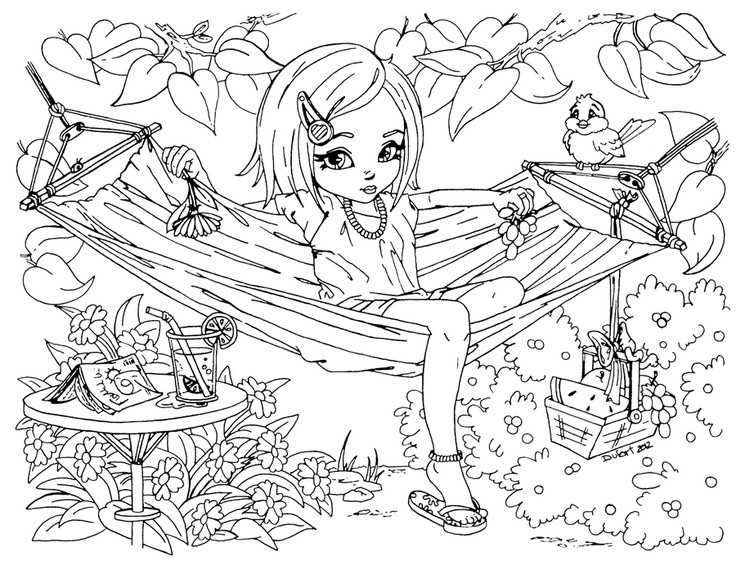 Detailed Coloring Pages Of Girls  Printable Summer time girl enjoy on hammock coloring pages