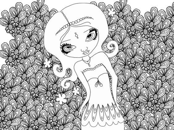 Detailed Coloring Pages Of Girls  Coloring pages Adult coloring pages and Coloring on Pinterest