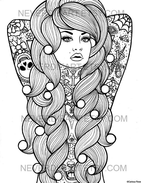 Detailed Coloring Pages Of Girls  Digital Download Print Your Own Coloring Book Outline Page