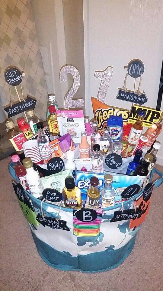 DIY 21St Birthday Gifts  21st Birthday Basket Gift baskets