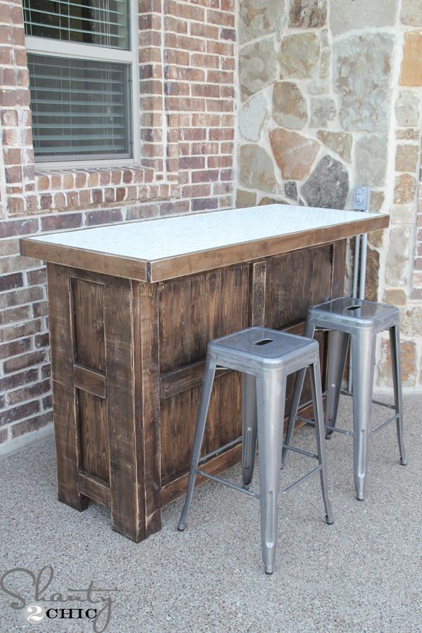 DIY Bar Plan  DIY Tiled Bar Free Plans and a Giveaway Shanty 2 Chic