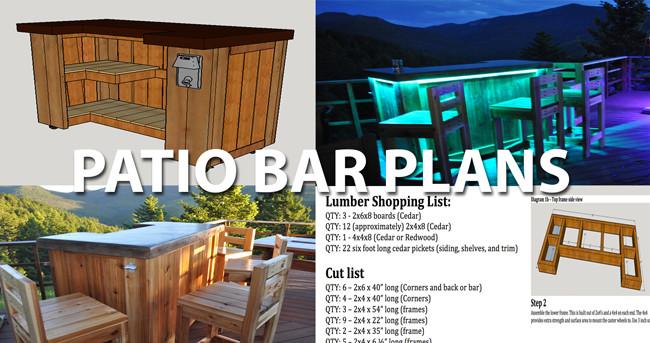 DIY Bar Plan  Patio Bar Plans Concrete Counter and Cedar Base