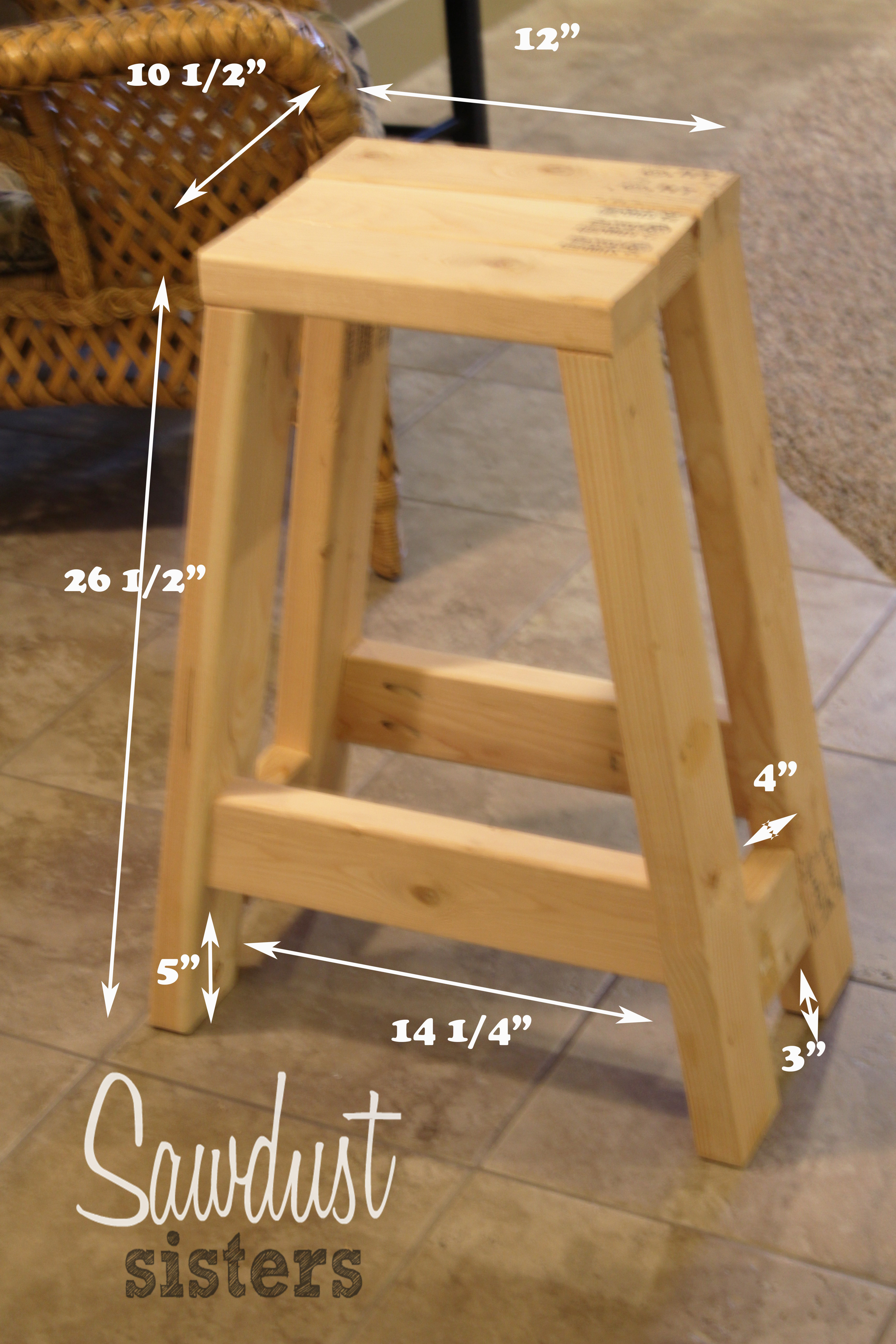 DIY Bar Stools Plans  Build a Barstool Using ly 2x4s Sawdust Sisters