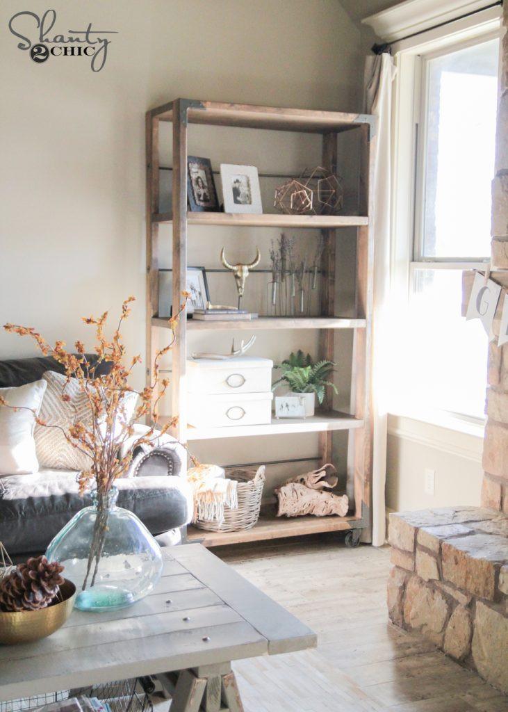 DIY Bookshelf Plans  DIY Industrial Cart Bookcase Shanty 2 Chic