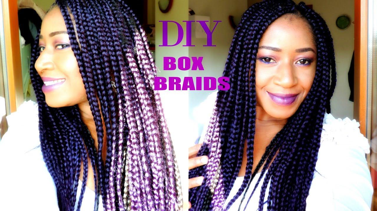 DIY Box Braids  HOW TO BOX BRAID EASIEST STEPS ON A SHORT 4C HAIR DIY