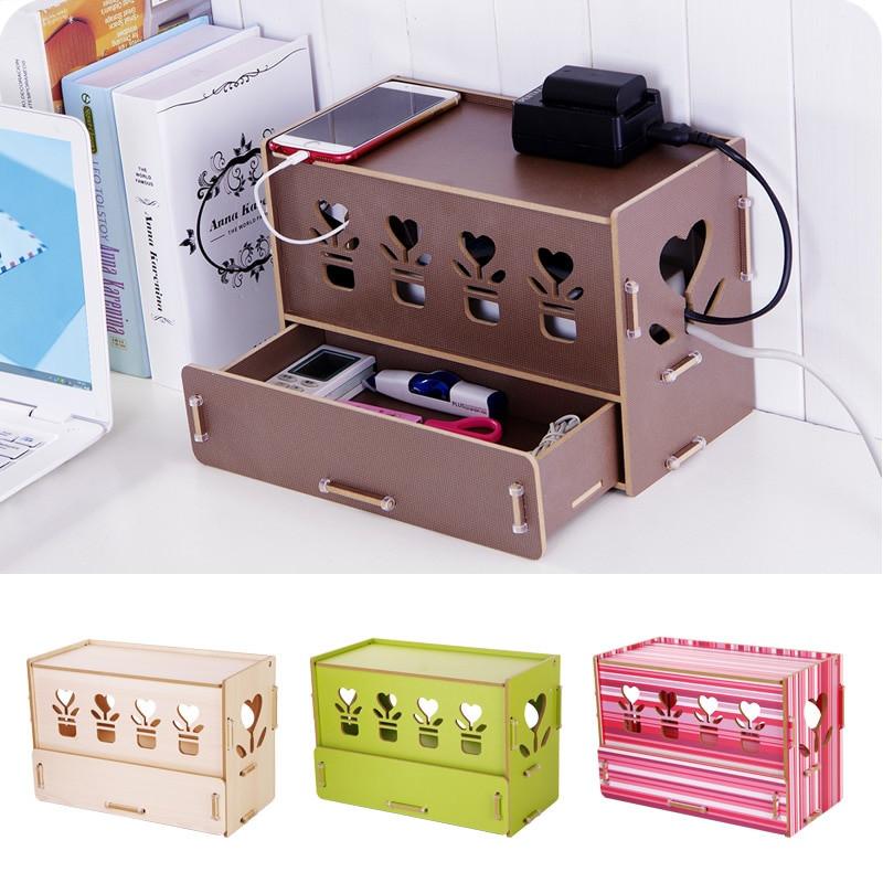 DIY Cable Management Box  New Eco High density Wood DIY Cable Storage Box Socket Box