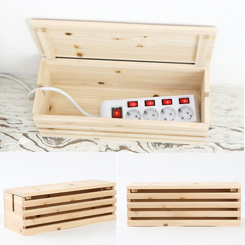 DIY Cable Management Box  2017 New Rectangular Cable Storage Box Wire DIY Wood Cable