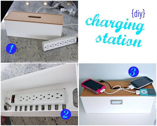 DIY Cable Management Box  charging station by hi sugarplum via Flickr from IKEA