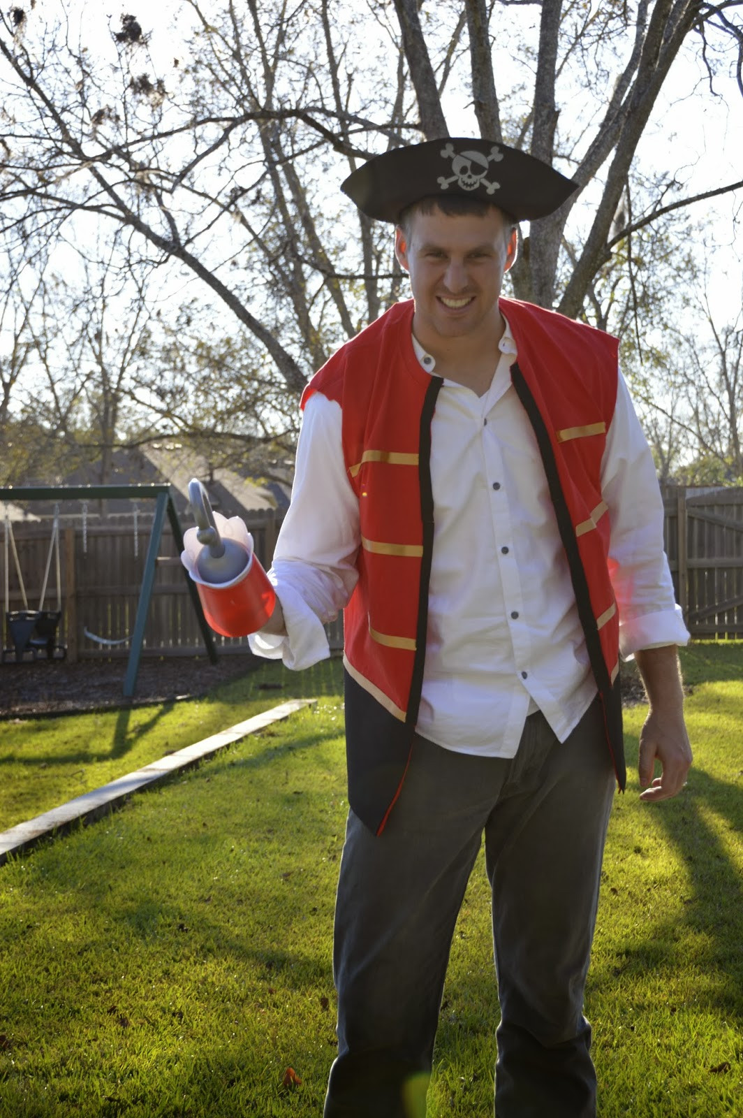 DIY Captain Hook Costumes  Tricks of the Mommy Trade Captain Hook No Sew Vest