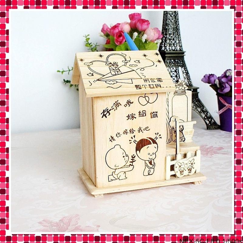 DIY Cash Box  DIY Wooden Children Money Box House craft Pen case Model