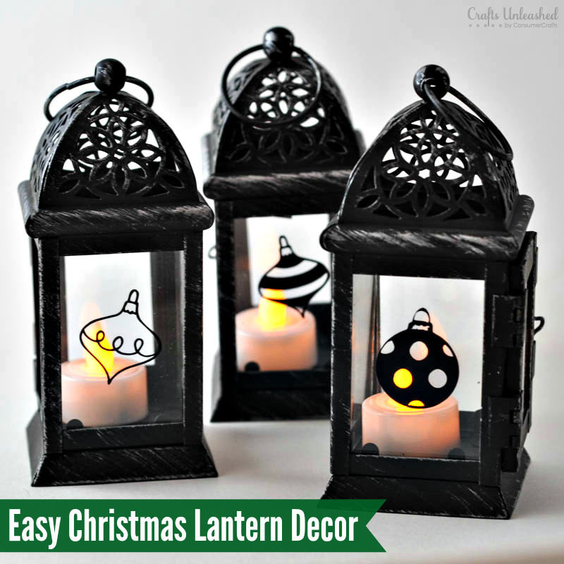DIY Christmas Lantern  DIY Vinyl Decals For Pretty Christmas Lantern Decor