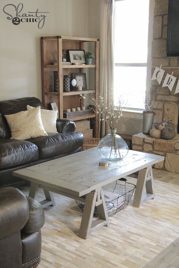 DIY Coffee Tables Plans  DIY Sawhorse Coffee Table Free Plans & Tutorial with