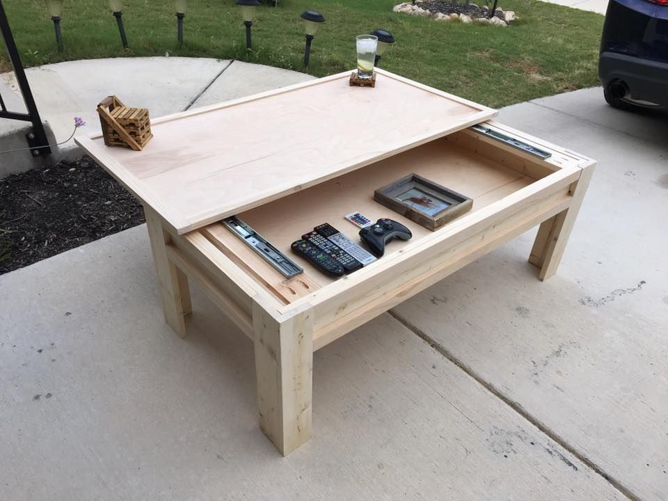 DIY Coffee Tables Plans  Made a Coffee Table with a Sliding Top in 2019
