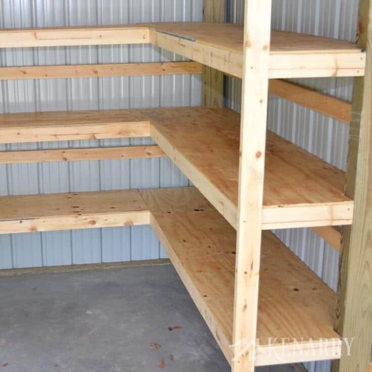 DIY Corner Shelf Plans  DIY Corner Shelves for Garage or Pole Barn Storage