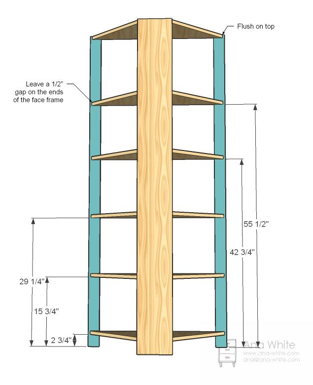 DIY Corner Shelf Plans  Ana White Build a Corner Cupboard