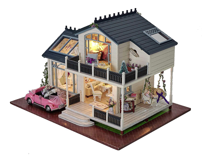 DIY Home Kit  DIY Wooden Dollhouse Miniature Kit Wood house Toy & LED