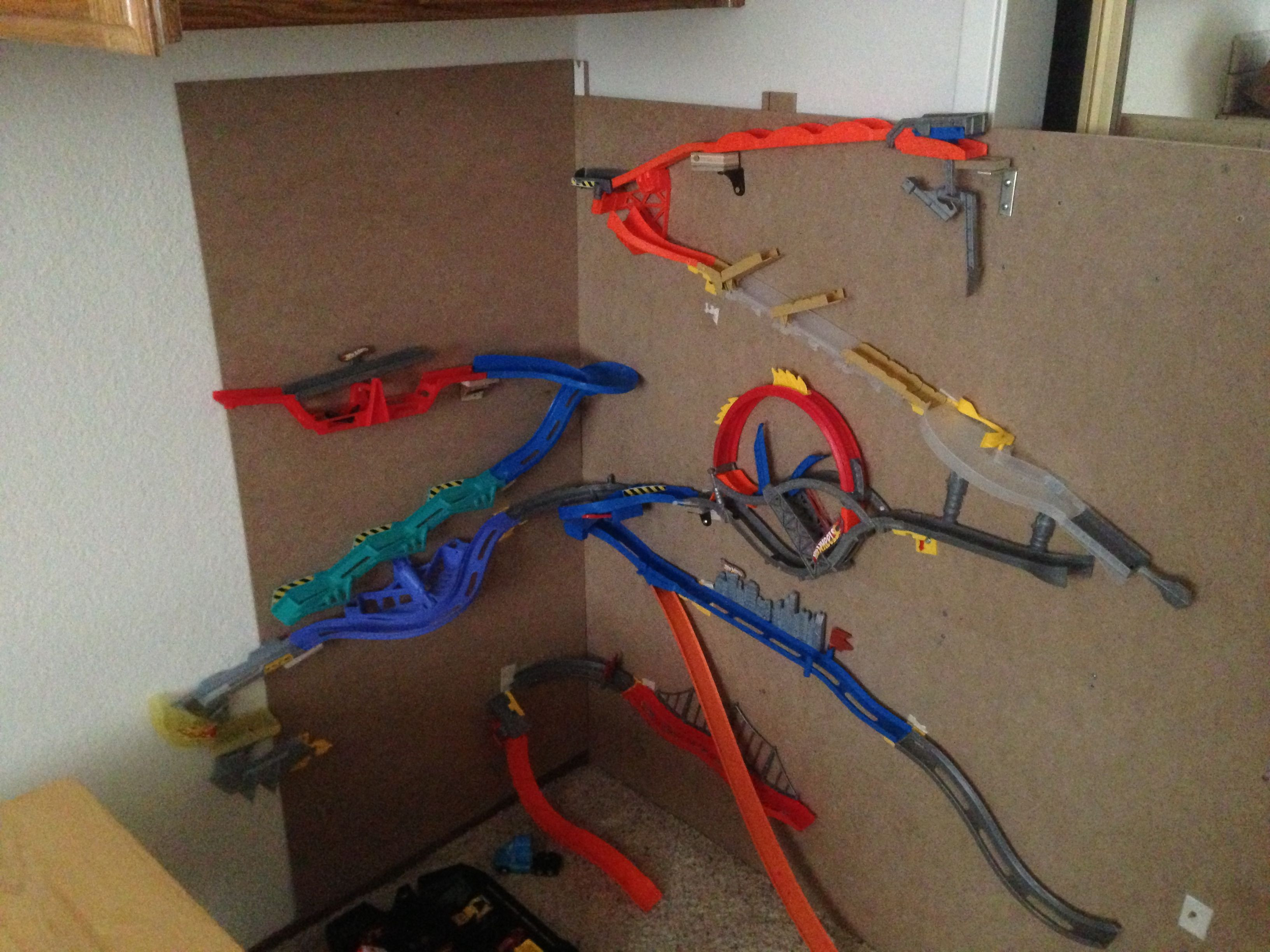 DIY Hot Wheels Track  Hot wheels wall tracks makeshift wall build