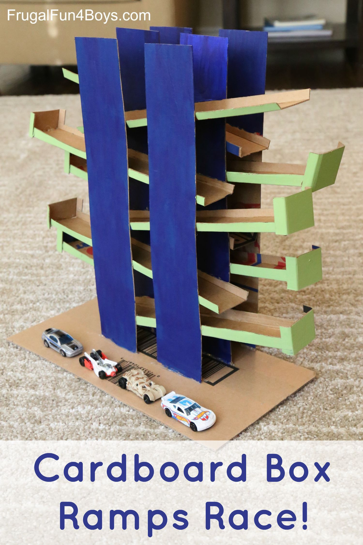DIY Hot Wheels Track  Cardboard Box Ramps Race for Hot Wheels Cars