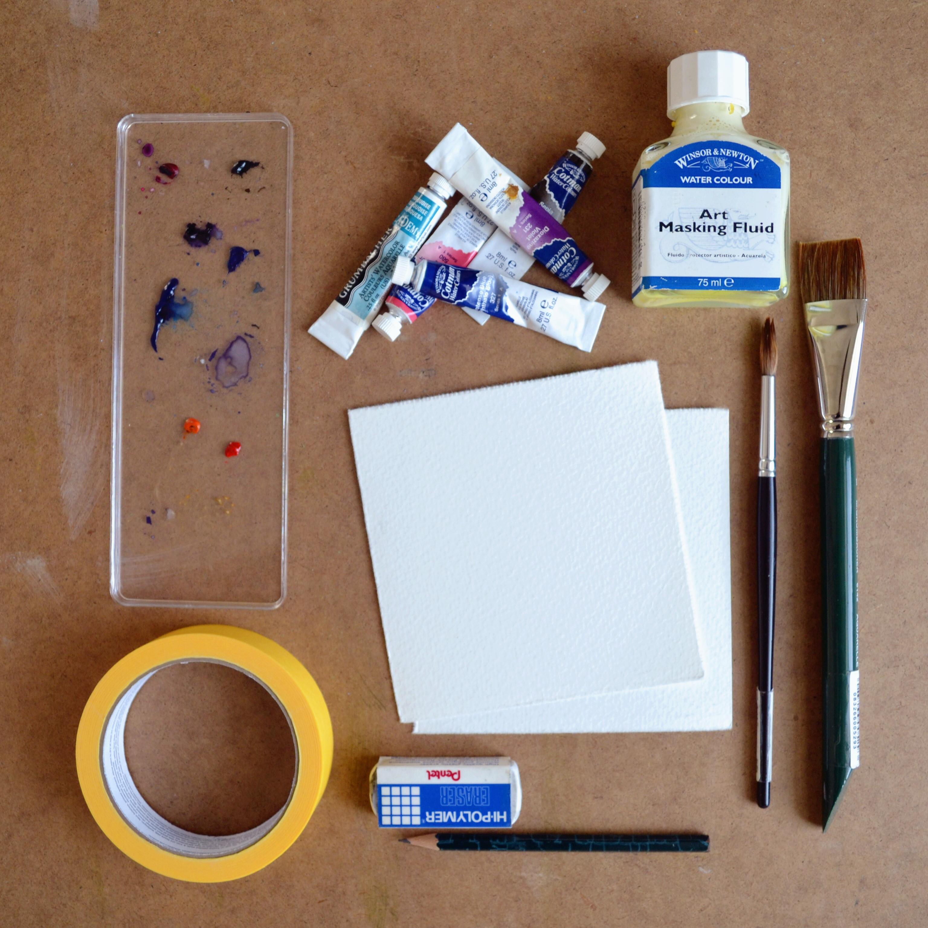 DIY Masking Fluid  Galaxy Watercolor Wall Art with Masking Fluid DIY